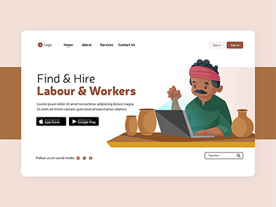 Flat design of labour and workers landing page template