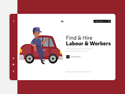 Flat design of labour and workers landing page design