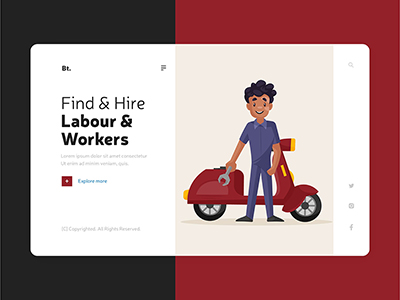 Flat template design of hire labour and workers landing page