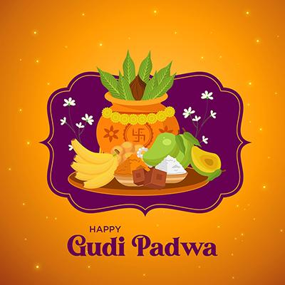 Gudi Padwa Hindu New Year Banner Design Template