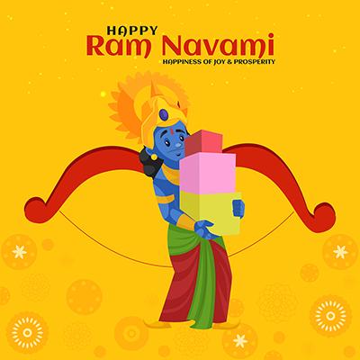 Happiness of joy and prosperity Happy Ram Navami banner design