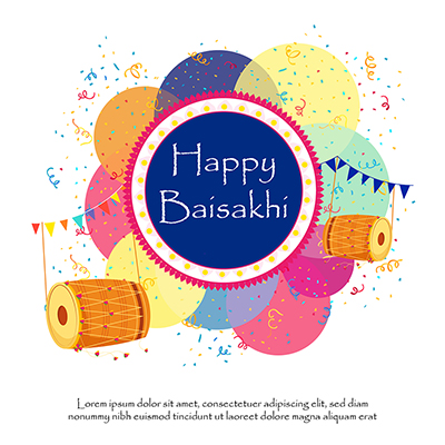 Happy Baisakhi banner design on a colorful background