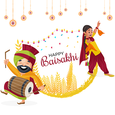 Happy Baisakhi banner design man and woman are dancing
