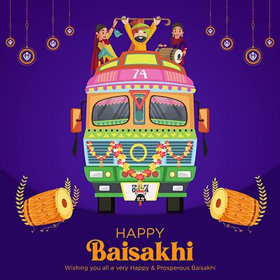 Happy Baisakhi traditional festival social media banner template design