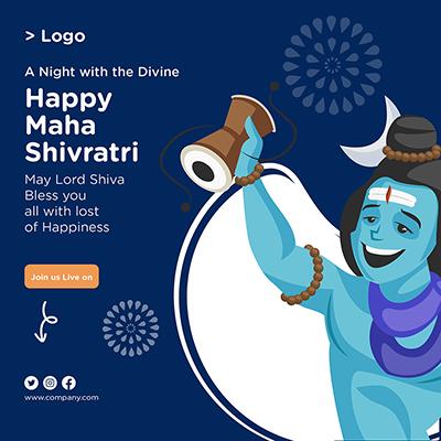 Happy Maha Shivratri banner template