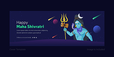 Happy Maha Shivratri cover page design lord Shiva with a trident