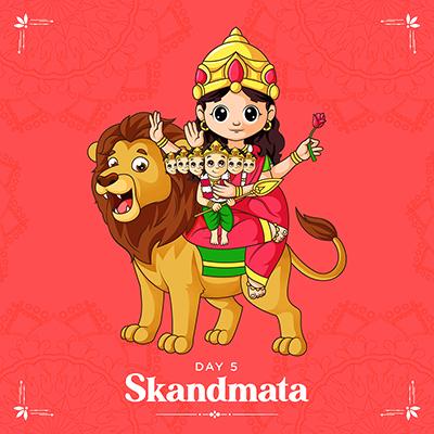 Banner design of happy Navratri with Goddess Skandmata illustration