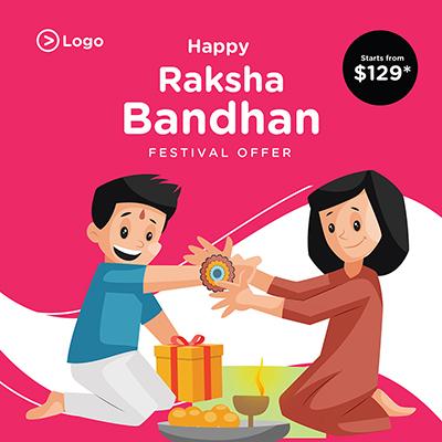 Happy Raksha Bandhan festival banner template design