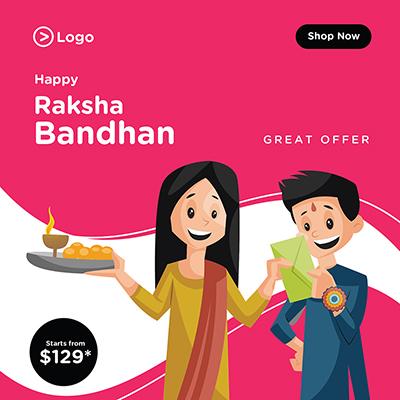 Happy Raksha Bandhan festival offer banner design template