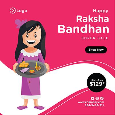 Happy Raksha Bandhan festival offer banner design template design