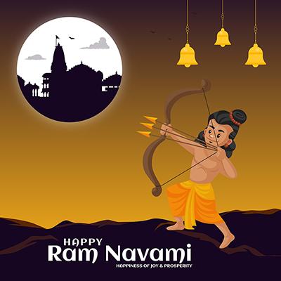 Happy Ram Navami Hindu religious celebrations illustration on banner template