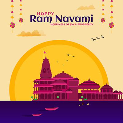 Happy Ram Navami Hindu traditional festival on social media banner template