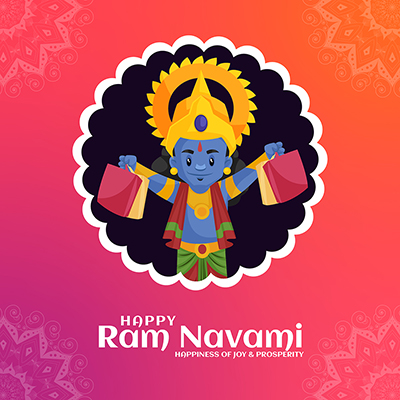 Happy Ram Navami festival with banner design template