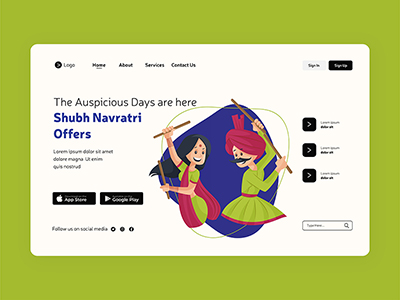 Happy Shubh Navratri festival of lights with a landing page design