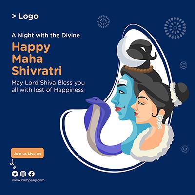 Happy Maha Shivratri religious festival banner