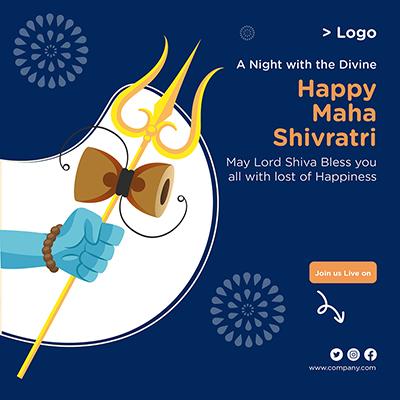 Happy Maha Shivratri religious festival banner design