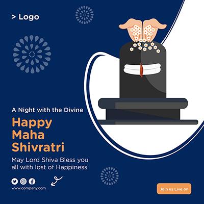 Happy Maha Shivratri religious festival banner template