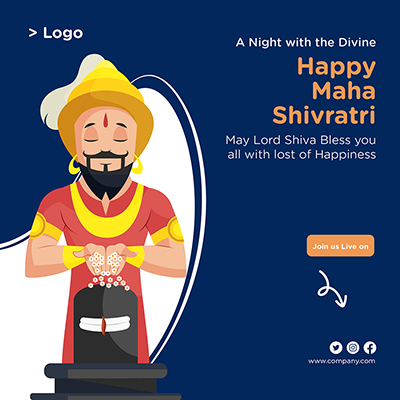 Happy Maha Shivratri religious festival banner template design