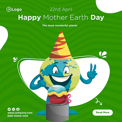 Happy mother earth day the most wonderful planet banner design