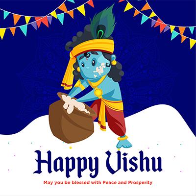 Illustration of happy Vishu banner design template- 8 small