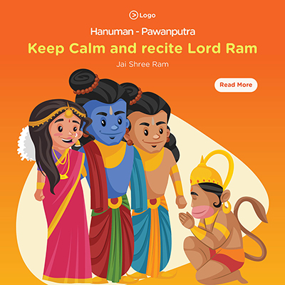 Keep calm and recite lord Ram with hanuman pawanputra on banner template