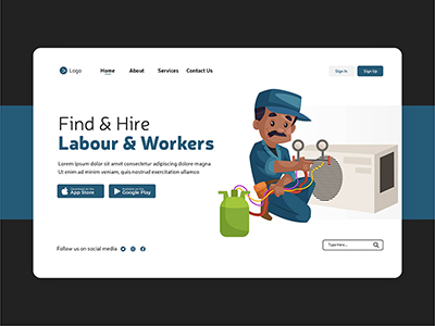 Labour and worker hire illustration on landing page design