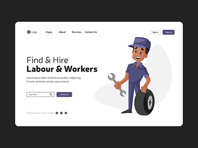 Labour and workers find and hire labour with landing page