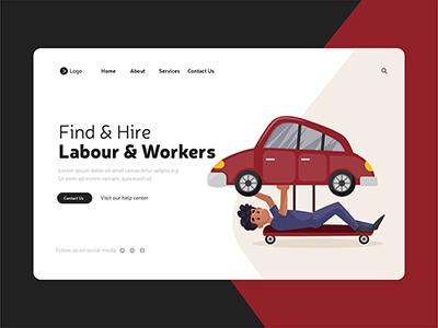 Labour and workers labour day landing page design template