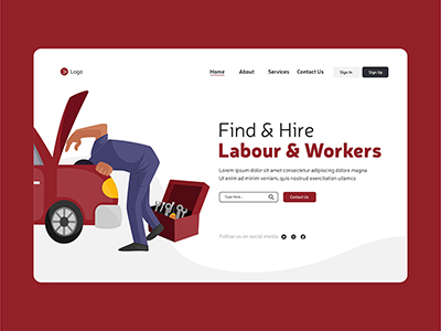 Labour day find and hire workers landing page design