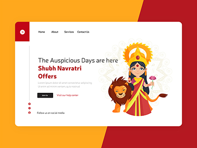 Landing page design for happy and shubh Navratri festival offers