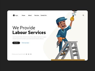 Landing page design of labour services