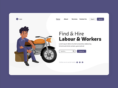 Landing page design of find and hire workers labour day