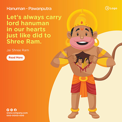 Banner of let's carry lord hanuman in our hearts just like he did to shree Ram