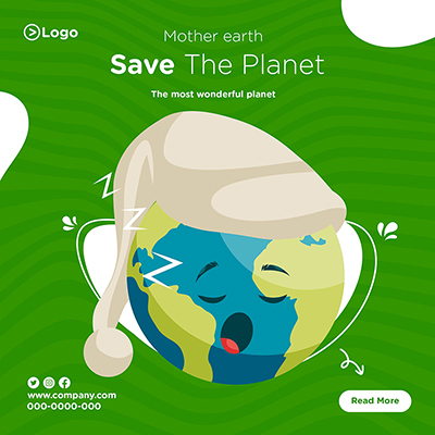 Mother earth save the planet on social media banner design