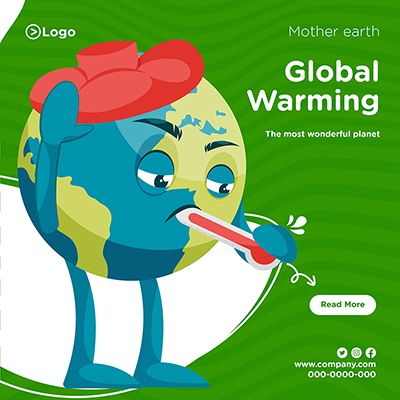 Banner design template of mother earth and global warming