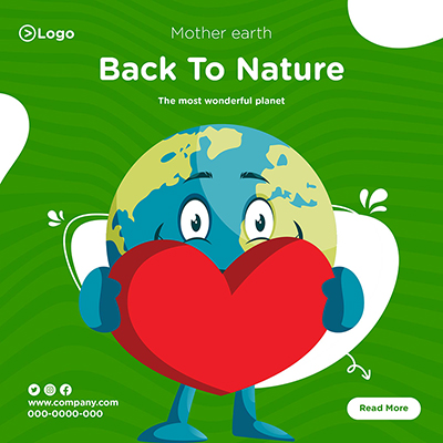 Mother earth banner design template back to nature