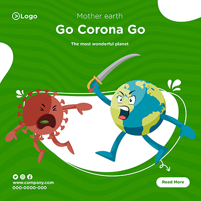Mother earth the most wonderful planet go corona go banner design