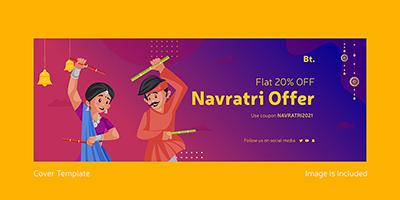 Navratri festival sale offer for facebook cover page design