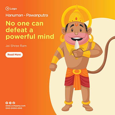 No one can defeat a powerful mind with lord hanuman  banner design