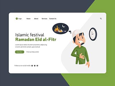 Ramadan Eid al-fitr flat style landing page design-13 small