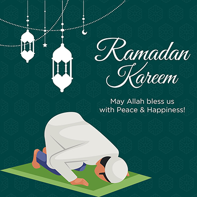 Ramadan Kareem may Allah bless us with peace and happiness banner design