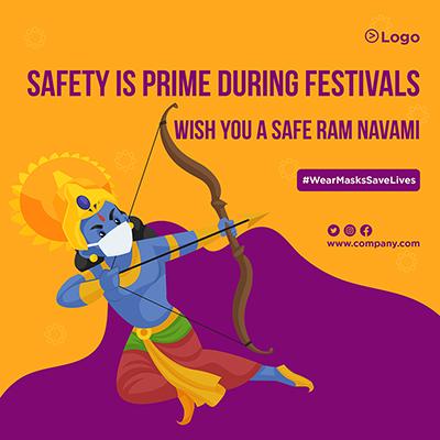 Safe Ram Navami wishes wear mask save lives banner design
