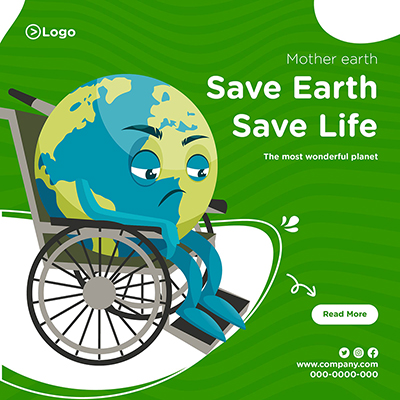 Save earth save life mother earth day banner design