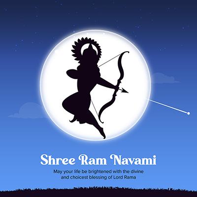 Shree Ram Navami Indian festival banner design with illustration