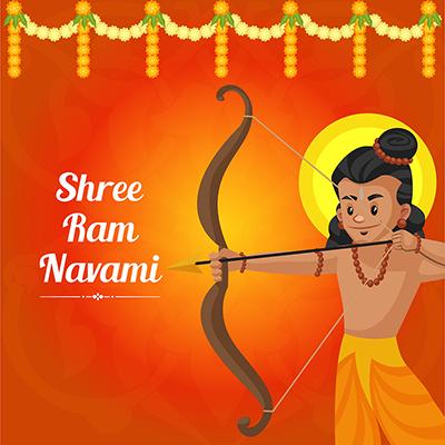 Shree Ram Navami festival of India with social media banner