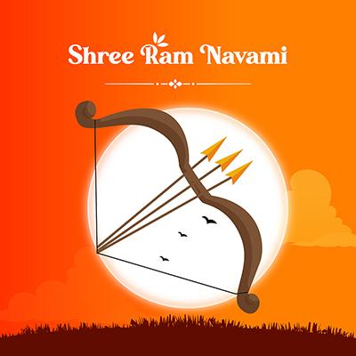 Shree Ram Navami illustration of bow and arrow banner design