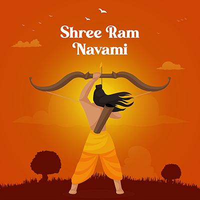 Shree Ram Navami illustration of lord Ram with social media banner