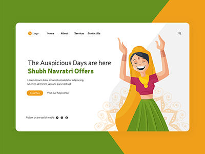 Shubh Navratri festival with dance event landing page
