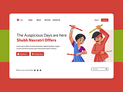 Shubh Navratri offers landing page design illustration with Indian couple