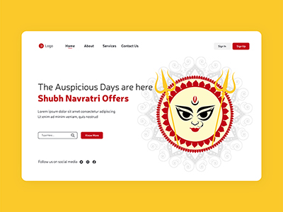 Shubh Navratri offers with Durga face illustration landing page design